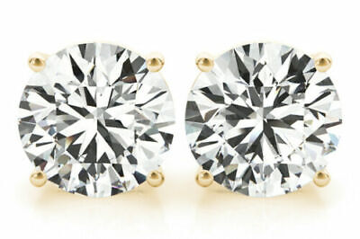 1 Carat Round Diamond Studs 14k Yellow Gold Earrings triple Excellent I VS2 GIA