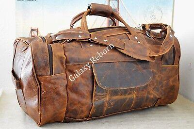 "Men's Genuine Leather Large Vintage Duffle 24"" Weekender Overnight Bag Traveler"