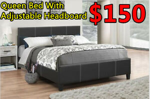 Queen faux leather bed with adjustable Headboard for Only $150