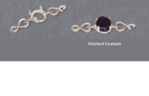 7x5mm - 10x8mm Oval Cabochon Sterling Solid Silver Heart Bracelet Link Settings