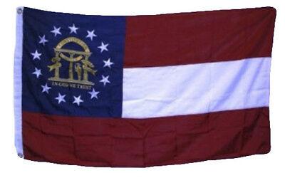 5x8 Embroidered Sewn Georgia Double Sided Seal 600D Nylon Flag 5'x8'