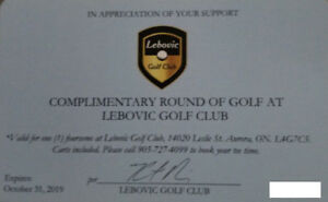 Lebovic Golf Club foursome pass - expires Oct 2019