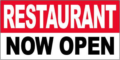 Restaurant Now Open Vinyl Banner Sign 2x4 Ft - Rwb