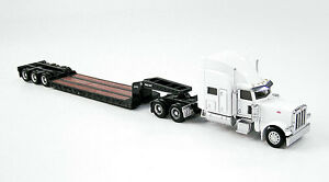 Norscot Peterbilt 389 White w/Trail King Low Boy Trailer Die-Cast 1/87 HO Scale