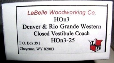 LaBelle HOn3 D&RGW Coach Closed Vestibule (HOn3-25)