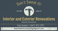 Don't Sweat It Contracting - Interior & Exterior Renovations