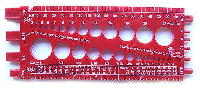 Nut Bolt Size & Thread Size Gauge (Fractional and Metric) StainlessTown Red