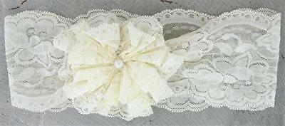 Passion for Fashion IVORY Flower Headband Stretch Lace $8 each FREE US SHIPPING - Lace Headbands For Adults