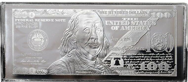 DISCOUNTED 2018 FRANKLIN $100 4 oz .999 CURRENCY SILVER BAR + COA ~ IMPERFECTION