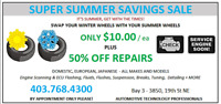 SUPER SUMMER SAVINGS SALE - $10 TIRE SWAPS - GET WITH THE TIMES!