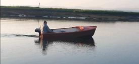 12ft dinghy rowing boat fibreglass