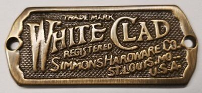 Antique Brass - Cast White Clad Ice Box Name Plate nameplate refrigerator Sim... (Ab Antique Brass Cast)