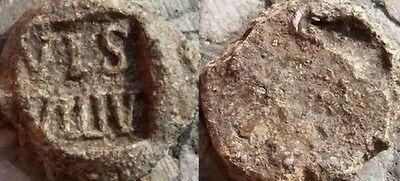 Byzantine Lead Seal Raised(VIS-VLLIV) letters.300-1400ad.19mm.7.5 gms.