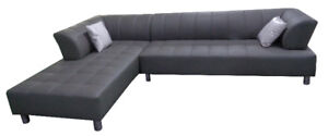 L-shape sectional sofa in Italian leather (Yves)