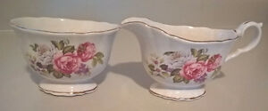 Old Foley Harmony Rose Porcelain Cream Pitcher and Sugar Set