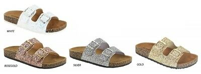 New Glitter Open Toe Dual Buckle Slides Flat Sandal Shoe Fli