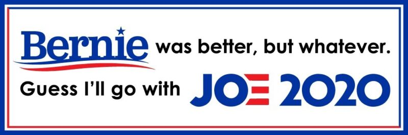 Humorous Bernie Sanders/Joe Biden Bumper Sticker