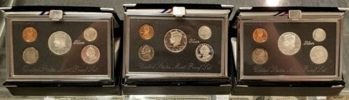 Silver 5 Coin 1993, 1995, & 1996 Premier Proof Sets | Original Box & COA