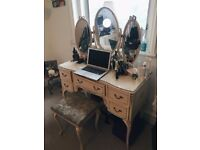 Vintage French Louis style Dressing Table Mirror Shabby Chic + chair + chest of drawers