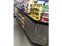 3 METRE WIDE COUNTER WITH STORAGE SPACE BEHIND AND CUT OUT FOR 2 TILL POSITIONS