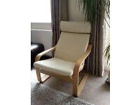 Arm-chair cream leather IKEA