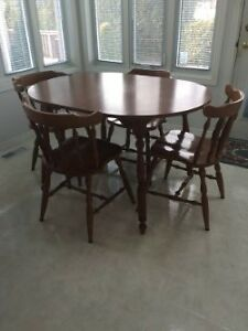 Solid Hardwood Table and Chair Set with extra Leaf