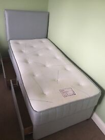 Single Divan bed with mattress and headboard. Hardly used, very good condition.