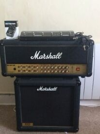 Marshall AVT150h with cab,foot switch and distortion pedal