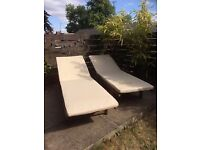 Wooden Sun Loungers with cushions