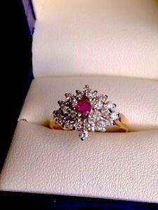 Vintage Diamond & Ruby Cluster
