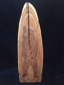 hand crafted grizzly bear wood burning- live edge/ one of a kind