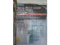 shower door 760mm pivot door and side panel in white