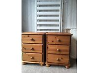 Pair of matching bedside tables in solid antique pine