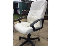 Office Computer Chair White Leather - BARGAIN PRICE!
