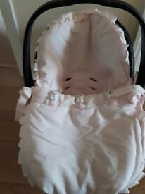 Beautiful Pink Car Seat Cover with Teddy's on the front