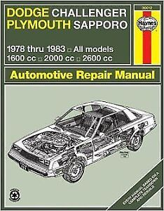 New Haynes Dodge Challenger / Plymouth Sapporo 1978-1983 manual