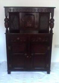 antique priory oak court cupboard /unit/cabinet
