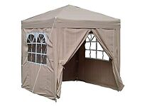 Airwave 2.0x2.0mtr Beige Pop Up Gazebo, Fully Waterproof, with Four Side Panels and Carrybag