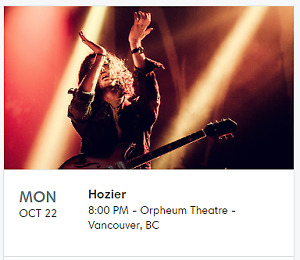 Hozier - Orpheum Theatre - Monday October 22nd 2018 - 2 TICKETS