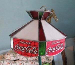 Coke Logo Stained Glass Hanging Lamp