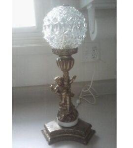 Vintage Brass / Bronze Angel Cherub on Marble Lamp