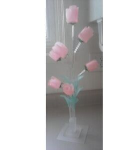Artificial Hard Plastic Pink Flowers with Stand