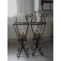 Vintage Wrought Iron Table Lamps / Wall Sconces