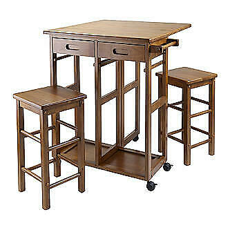 Wood Space Saver Table with 2 Stools, Teak