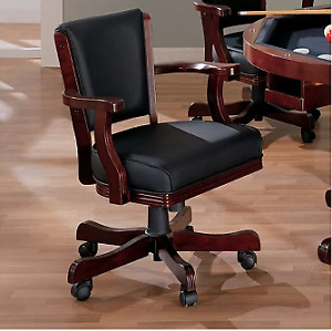 Dark brown solid wood and Leather Bankers Chair (8)