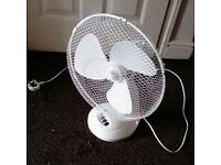 White desk fan 12 inch diameter 40watt