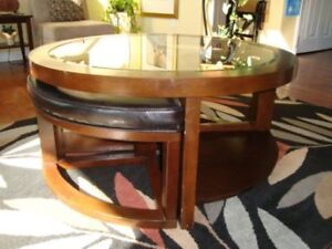 Unique Coffee Table with Additional Seating $125