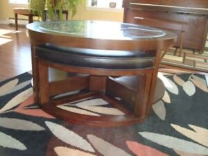 Unique Coffee Table with Built in Shelves and Additional Seating