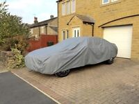 Medium/Large Breathable Car Cover, water/UV/wind/snow/ice resistant, elastic hem with buckle strap.