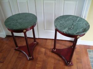 Bombay Cherrywood Tables (a Pair) with Marble Tops $350